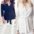 New Ladies Crepe Cold Shoulder Waterfall Blazer Belted Jacket Cardigan TOP 8-14