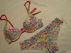 B-SASSY 36B Underwire Microfiber Floral Push up Bra L 7 Hipster Panty NWT