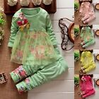 2PCS Nebron Kids Baby Girls Outfits Long Sleeve T-shirt Tops+ Pants Clothes Set