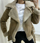 ZARA FAUX SUEDE LEATHER BIKER FAUX FUR COLLAR DOUBLE-FACED JACKET AVIATOR COAT