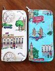 TRAVEL Wallet Zip Around Clutch Satchel Purse Blue or Beige LONDON Scenes Print