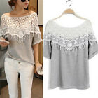 Women Sweet Hollow Out T-shirt Off Shoulder Lace Loose Tee  Cape Collar Blouse