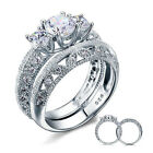 925 Sterling Silver 3-Stone Cz Wedding Band Engagement Rings Set Size 5-9 Ss2205