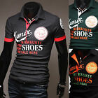 Mens Stylish Lettering Polo Pique Collar Casual Short Sleeve T-Shirts Tops W758