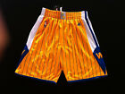 Golden State Warriors Men Shorts Throwback Basketball Pants Yellow with Stripes