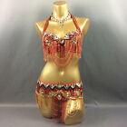 Wholesale handmade beaded belly dance costume set Professional Dancing wear