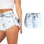 Women's Fashion Vintage Tassel Ripped Loose High Waist Shorts Punk Sexy Jeans