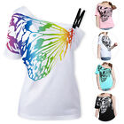 Women Ladies One Shoulder Butterfly Printed Punk T-shirt Tank Tops Top Blouse