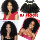 100% Peruvian Kinky Curly Remy Virgin Human Hair Extensions Weft US 3 Bundles 8A