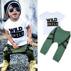 Newborn Infant Baby Boys T-shirt Tops+Pants Casual Outfits Clothes 2PCS Set UK