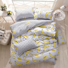 Yellow Banana Single Double King Size Bed Pillowcase Quilt Duvet Cover Set
