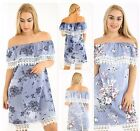 Women's Lace Edging Floral Denim Mini Dress Ladies Off Shoulder Print Belt Tie