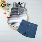 2PCS Toddler Kids Baby Girl Casual Outfit Vest Tops+Denim Short Pants Clothes UK