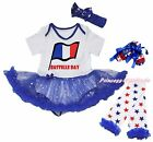 Bastille Day France Flag Bodysuit Bling Star Baby Dress Leg Warmer Shoes NB-18M