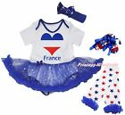 Bastille Day France Heart Bodysuit Bling Star Baby Dress Leg Warmer Shoes NB-18M