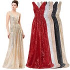 2017 SEQUIN Evening Formal Party Ball Gown Pageant Prom Bridesmaid Wedding Dress