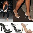 New Womens Ladies High Heel Party Sandals Celebrity Chain Strappy Shoes Size UK