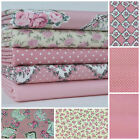 Pink Parisian floral 5 piece fat quarter bundle & fabrics 100% cotton for sewing