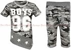 Boys T-Shirts & Shorts Set Army Military Camouflage Kids Clothes Ages 3-12 Years