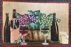 "Set of 3 Tapestry Placemats, 13"" x 19"", Wine & Grapes, 3 BOTTLES, 2 GLASSES"