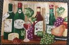 "Set of 3 Tapestry Placemats, 13"" x 19"", Wine & Grapes, 4 BOTTLES & GLASS"