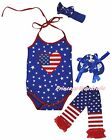 4th July USA Flag Heart Star Halter Neck Baby Bodysuit Leg Warmer Shoes NB-18M