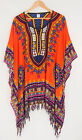 Print Tunic top oversized blouse kaftan summer XL-2XL-3XL orange poncho V56