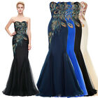 Ladies Peacock Mermaid Long Evening Ball Gown Formal Prom Cocktail Party Dress