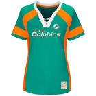 NEW MAJESTIC NFL Team Apparel MIAMI DOLPHINS V Neck Jersey Shirt Womens NWT