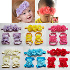 Lovely Boy Girls Infants Foot Flower Barefoot Sandals + Headband Set