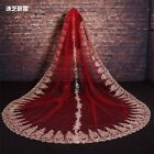 Gorgeous 3M Appliques Tulle Beads Red Wedding Bridal Veil Bride Hair Accrssories