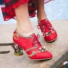 womens lady floral cage garden heel velvet lace up wedding bridals shoes Diamond