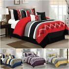 7 Pieces Modern Pleated Stripe Embroidered Zigzag Bedding Comforter Set
