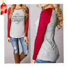 Fashional Ladies Christmas Round Collar Cotton Full Sleeve Women Tops Blouse