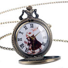 Retro Alice in Wonderland Rabbit Quartz Pocket Watch Necklace Bronze Steampunk image