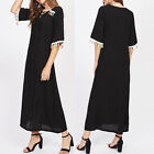 2017 New Women's Plain V Neck Lace-up Loose Tassels Half Sleeve Long Maxi Dress