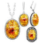 Amber Color Jewelry Sets Vintage Antique Silver Plated Necklace Earrings Rings