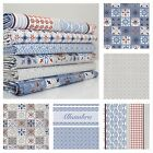 ALHAMBRA 100% COTTON fabric FQ METRE Pale Grey & Blue Seville Inspired Prints