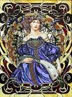 Blue Mucha Lady Fabric Crazy Quilt Block Multi Sizes M1 Free Shipping