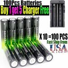 50Pcs 18650 3.7V 5800mAh Rechargeable Li-ion Battery+Charger For Flashlight Lamp