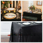 Choose Size Black Rectangle Sequin Tablecloth for Party Wedding Table