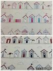 Fryets BEACH HUT Blue/Pink Cotton Fabric For Curtains/Upholstery/Crafts