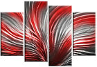 "silver grey & red abstract canvas picture 4 panel wall art 60"" & 40"" options"
