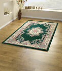 SMALL - LARGE DARK BOTTLE GREEN SOFT THICK 100% WOOL PILE AUBUSSON CHINESE RUG