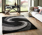 SMALL - EXTRA LARGE THICK GREY SILVER BLACK SPIRAL SWIRL SHAGGY SHAG PILE RUG