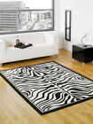 NEW SMALL - EXTRA LARGE ANIMAL ZEBRA PRINT BLACK IVORY WHITE MODERN RUG