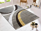 MEDIUM - LARGE THICK HAND CARVED SILVER GREY YELLOW OCHRE MODERN RUG - CLEARANCE