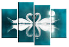 Teal Canvas Art Picture Swans Moonlight Wall Art various sizes and styles