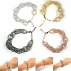 Chunky Crystal Mesh Wire Chain Adjustable Handcrafted Fashion Jewelry Bracelet