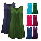 Women's Fashion V-neck Sleeveless Blouse Ladies Casual Solid Cotton Tank Tops